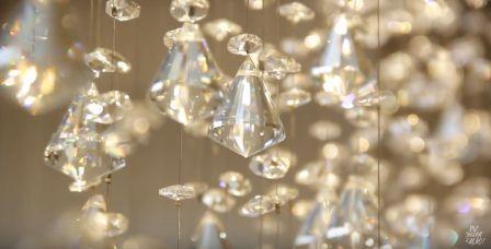 Lustre Pendente Moderno Cristal E Vidro Espelhado 50cm +luz