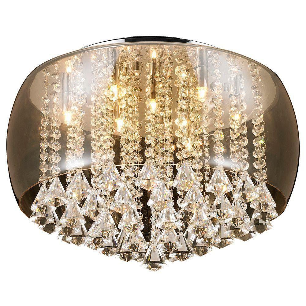 Lustre Pendente Moderno Vidro Ambar Com Cristal 50cm +luz