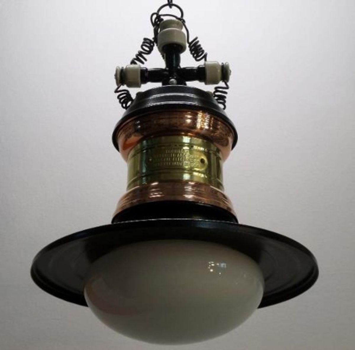 Pendente Colonial Lampião Rio Antigo Preto/cobre M