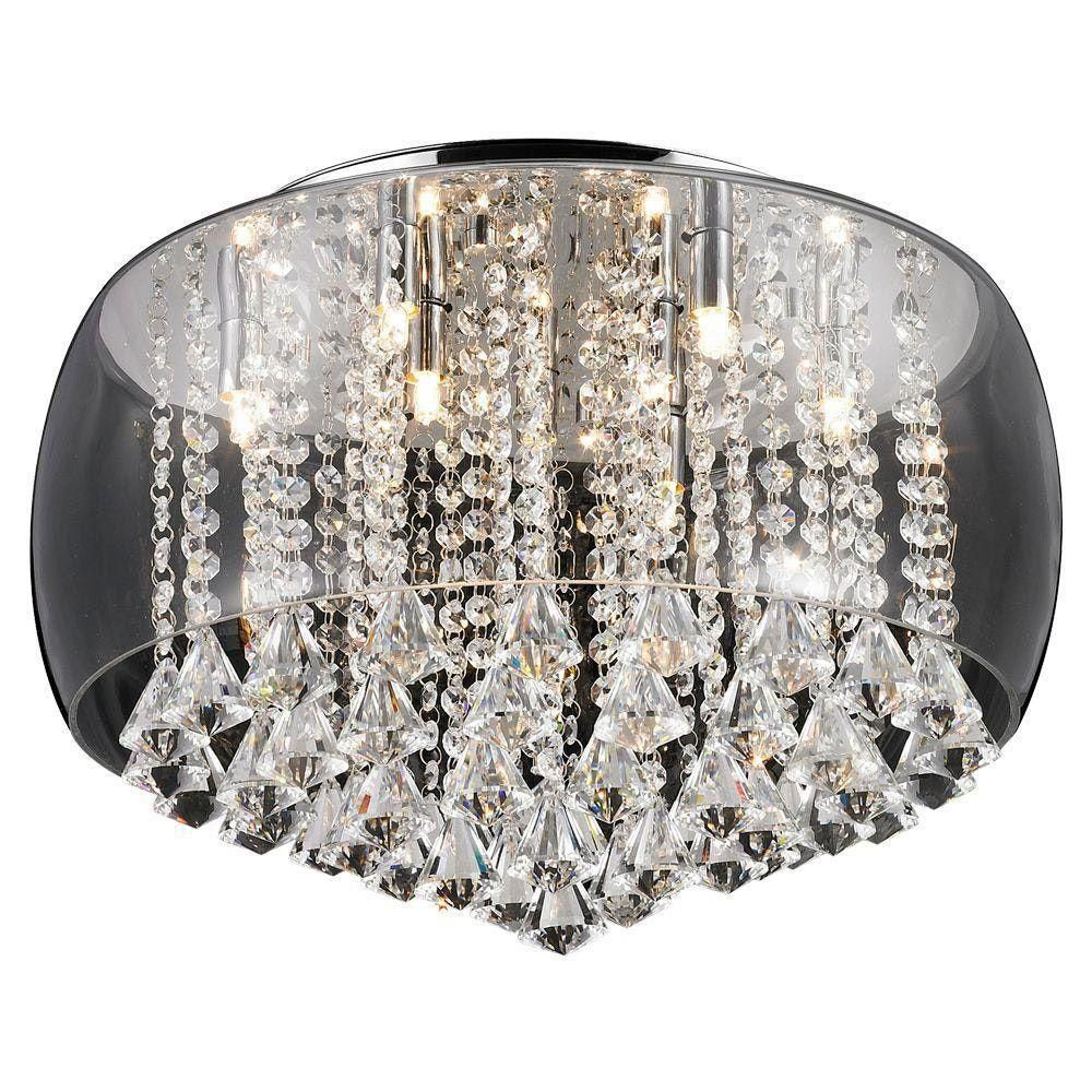 Pendente Plafon Cristal Com Vidro Transparente 6l Itamonte