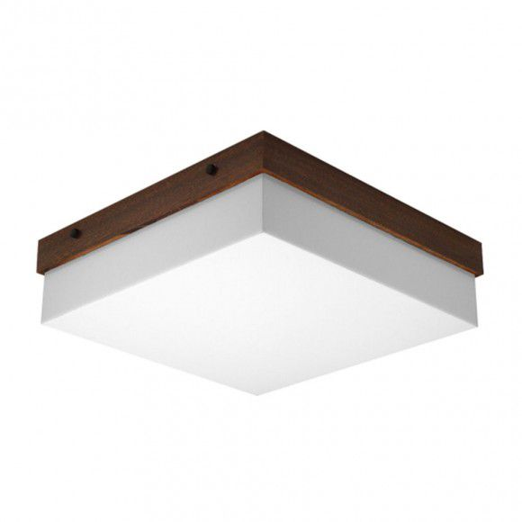 Plafon Acrílico E Madeira 30x30 Para 3 Lampadas