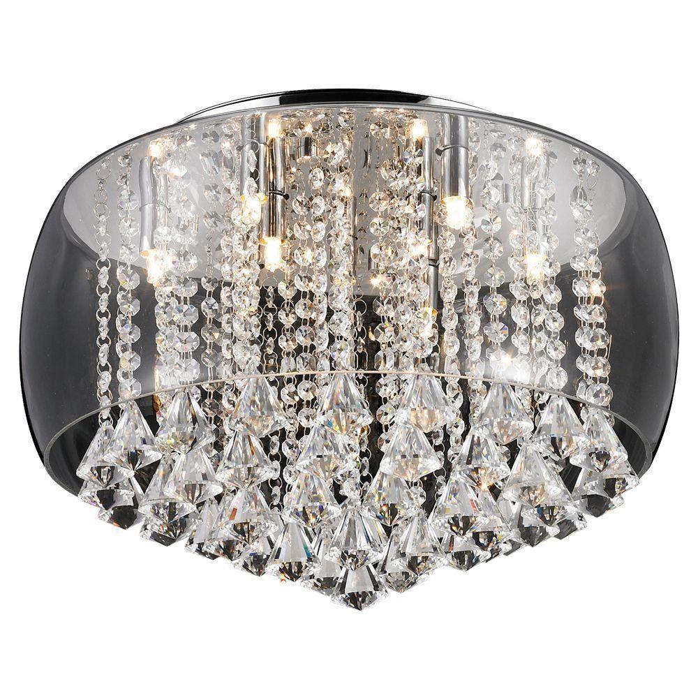 Plafon Cristal Vidro Transparente 9l +luz 50cm Com Lâmpada