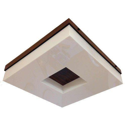 Plafon Madeira E Acrílico Quadrado 30x30 Para 4 Lampadas