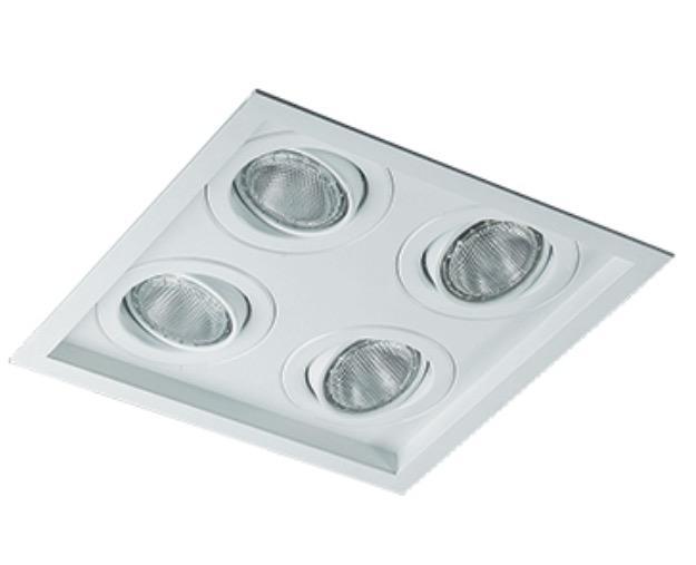 Spot Embutir Quadruplo 4 Par20 C/ Lamp. 7w Branco Frio