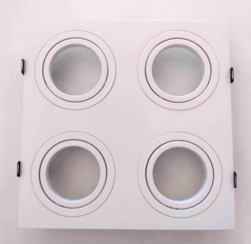 Spot Embutir Quadruplo 4 Par20 C/ Lamp. 7w Branco Quente