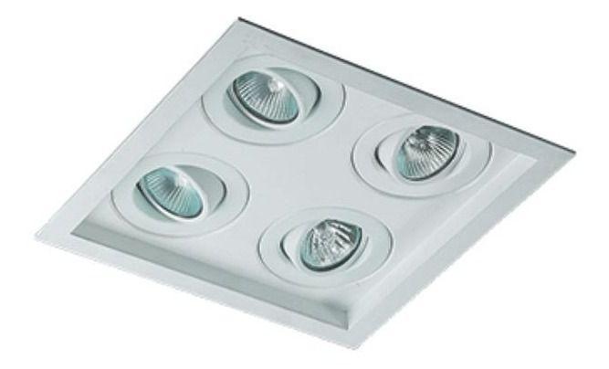 Spot Embutir Recuado 4 Dicroica C/ Lampada Led Branco Frio