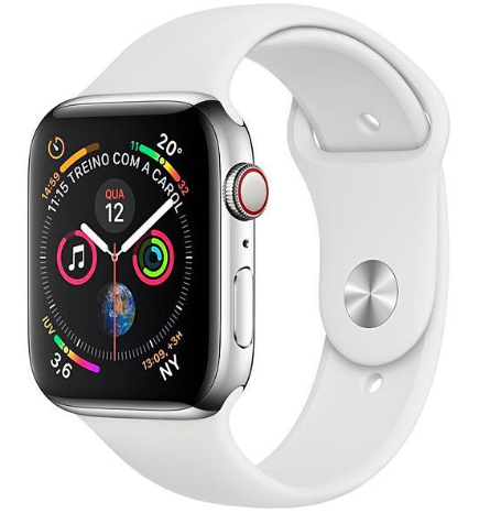 Apple Watch Series 4 44 mm GPS/LTE - Silver/White