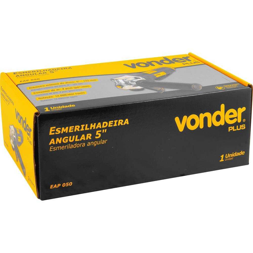 ESMERILHADEIRA ANGULAR PNEUMÁTICA VONDER EAP050 5 POL 125MM