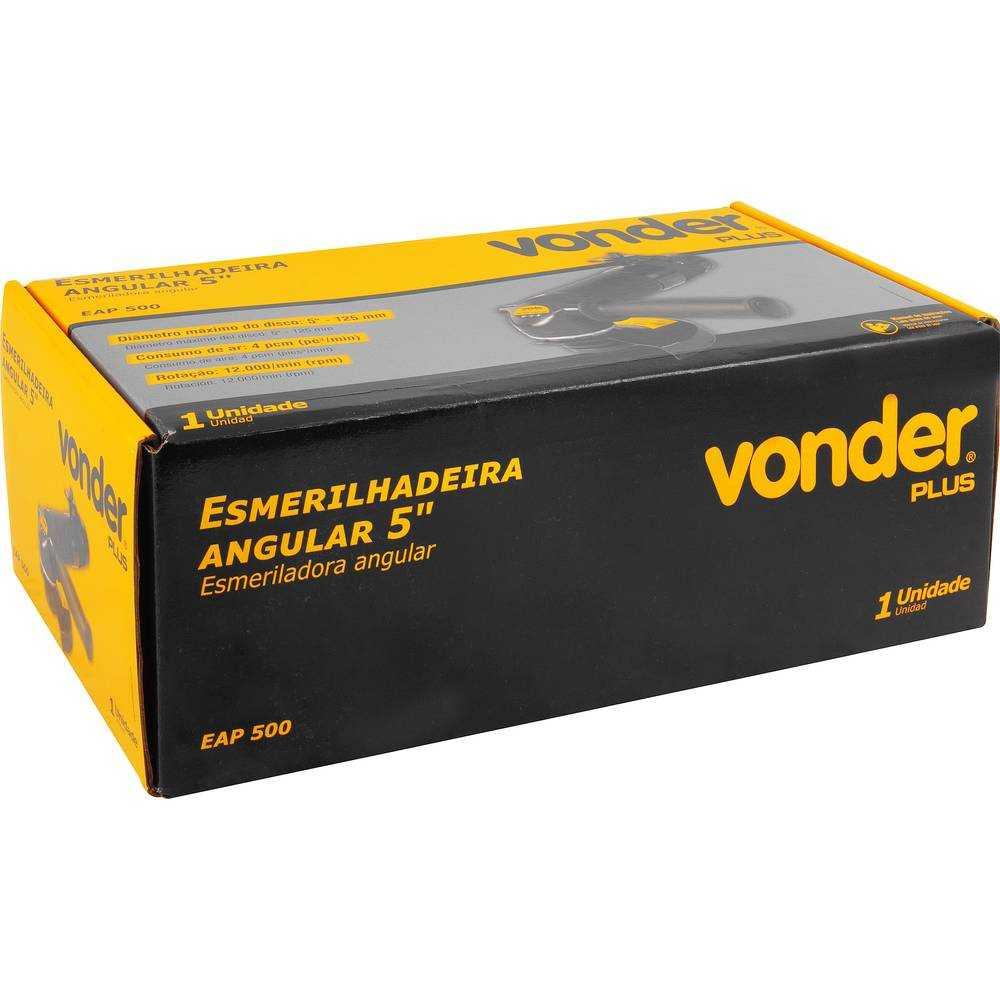 ESMERILHADEIRA ANGULAR PNEUMÁTICA VONDER EAP500 5 POL 125MM