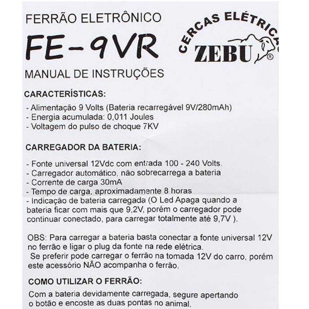FERRAO ELETRONICO 9V RECARREGAVEL ZEBU MANEJO DE ANIMAIS