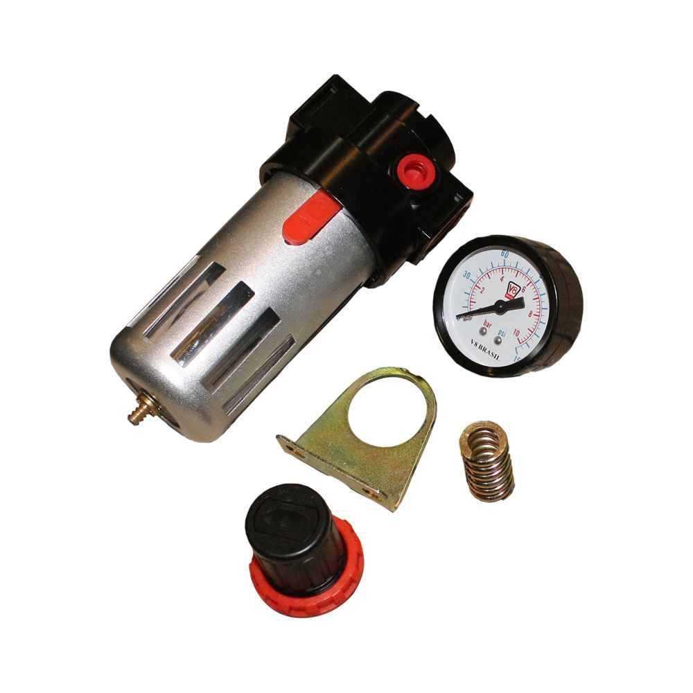 FILTRO DE AR V8BRASIL COM RECULADOR E MANOMETRO FA05 1/2 POL