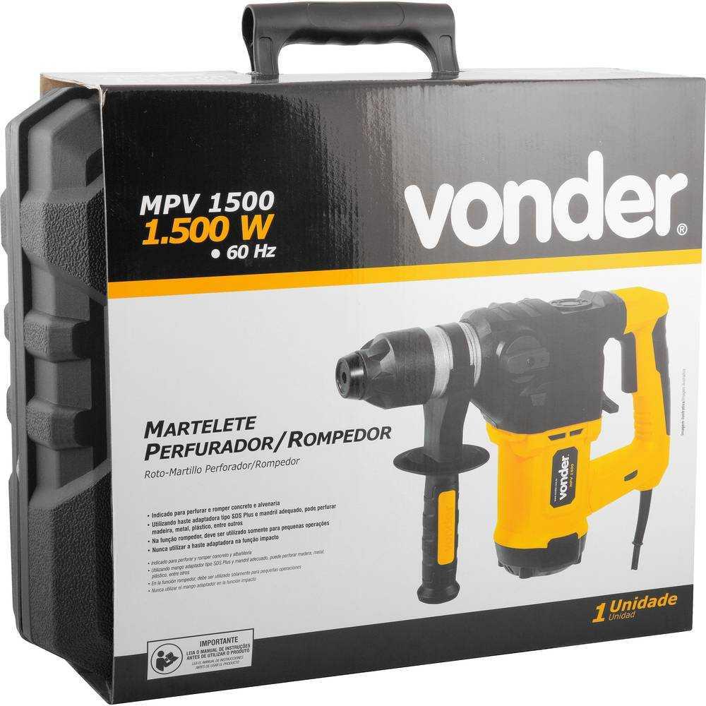 MARTELETE PERFURADOR ROMPEDOR VONDER MPV 1500 5,5J 1500W