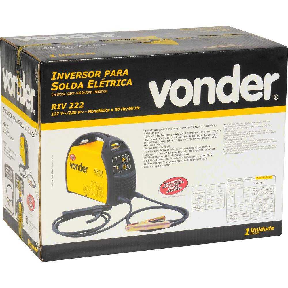 SOLDA INVERSORA VONDER RIV222  DISPLAY DIGITAL BIVOLT
