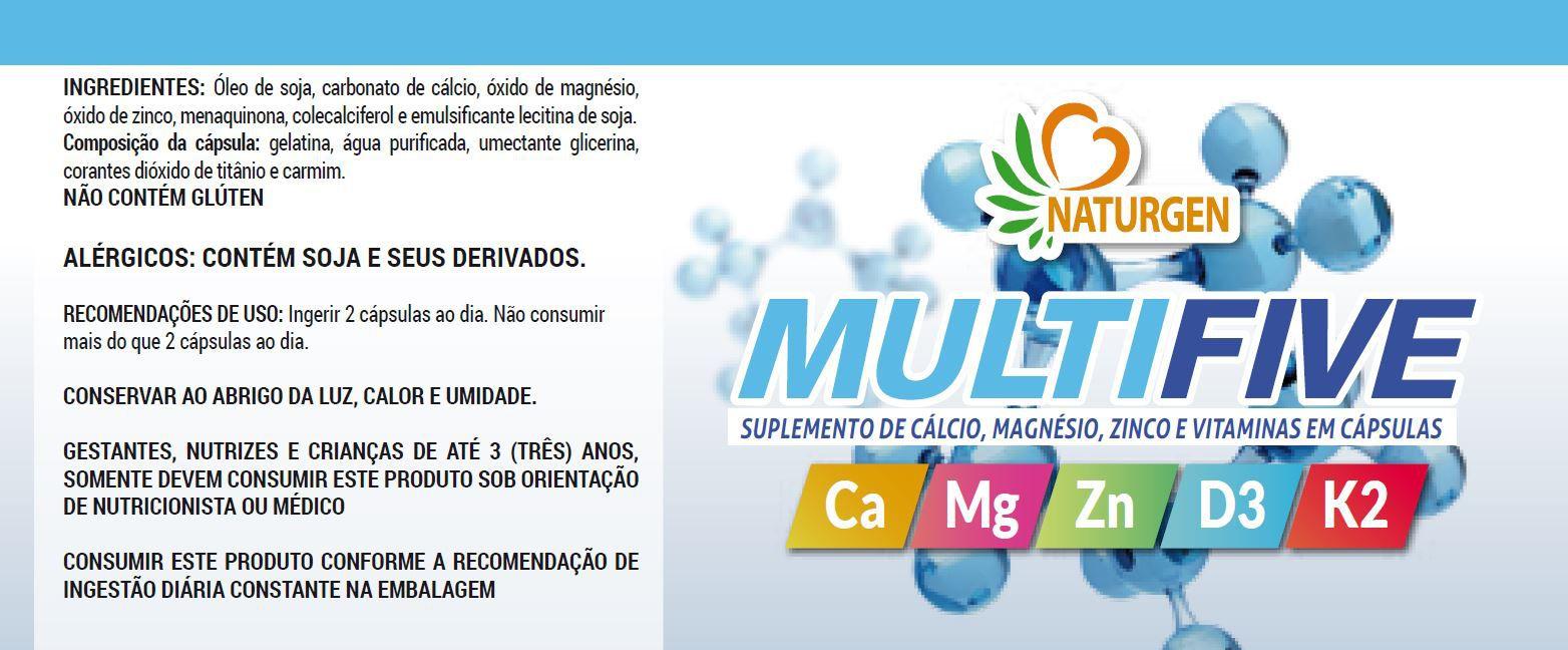 5 MAGNESIO + CALCIO + ZINCO + D3 + K2 MK7 MULTIFIVE