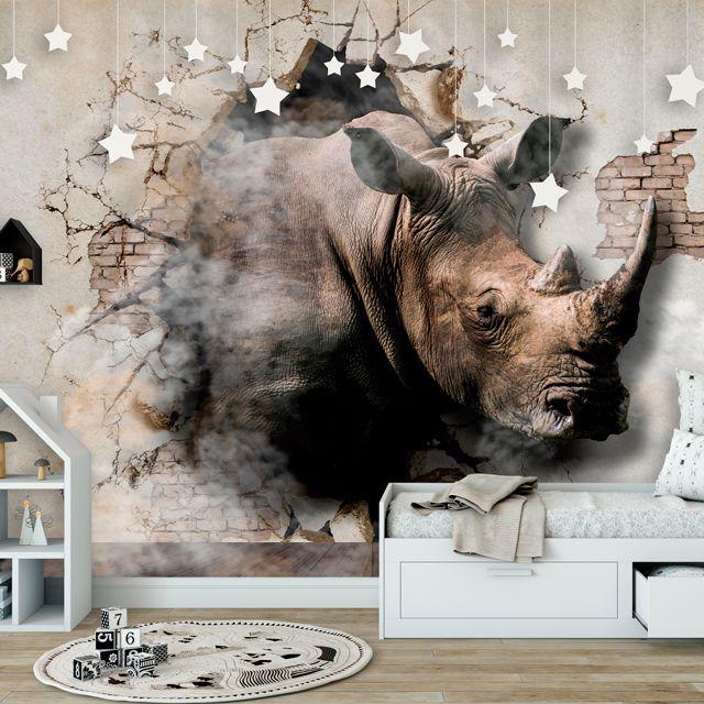 Adesivo de Parede Foto Mural Rinoceronte Aspecto 3D F191