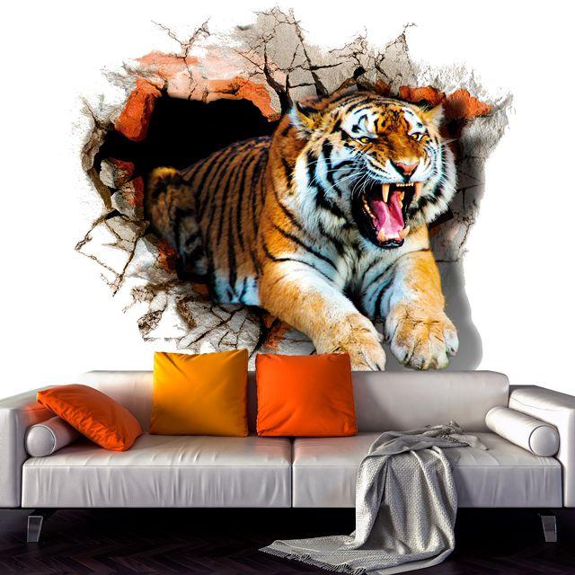 Adesivo de Parede Foto Mural Tigre Aspecto 3D F192