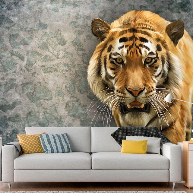 Adesivo de Parede Foto Mural Tigre Aspecto 3D F198