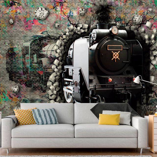 Adesivo de Parede Foto Mural Trem Aspecto 3D F194