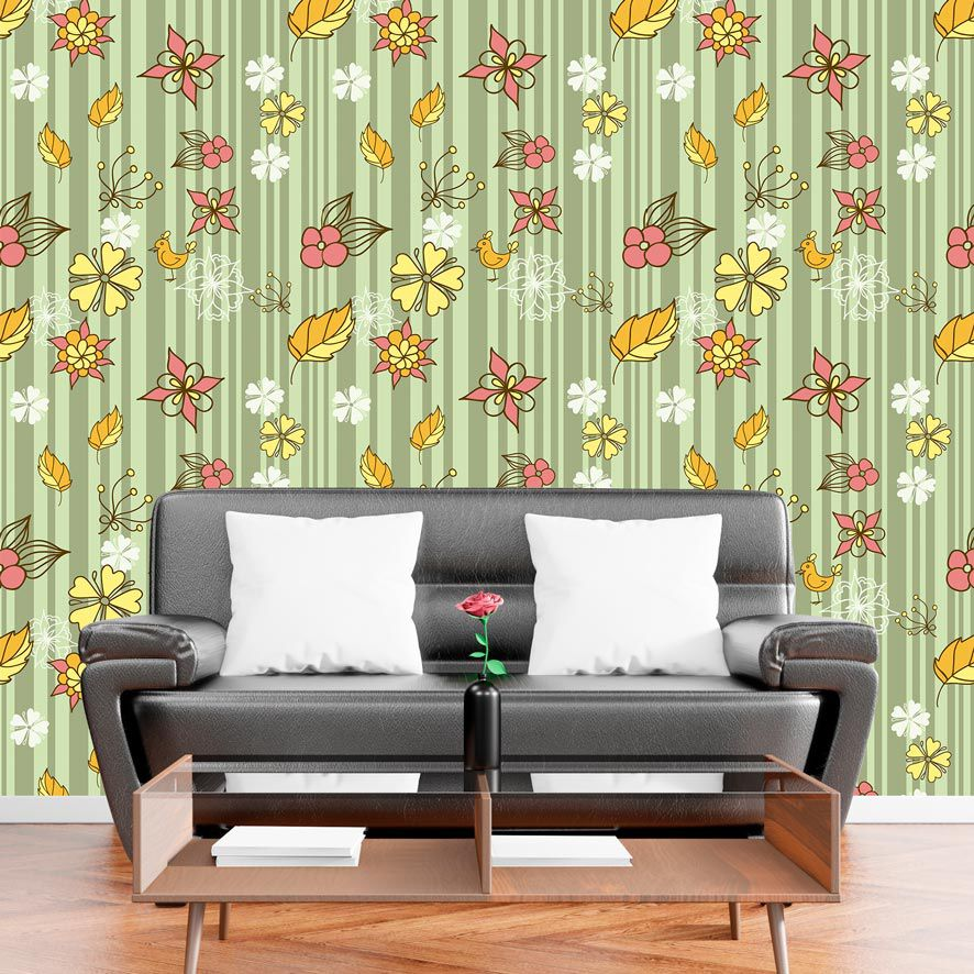 Papel de Parede Adesivo Floral Listrado Verde P624