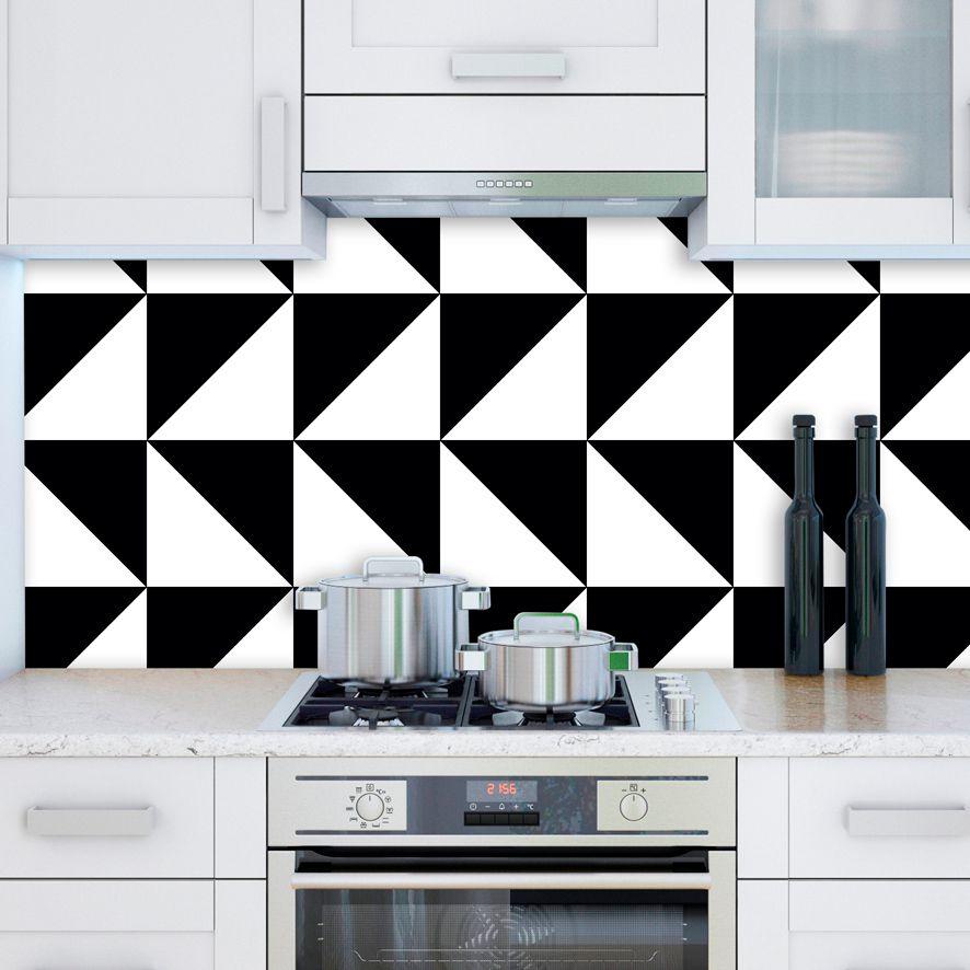 Papel de Parede Adesivo Geométrico Branco Preto P678