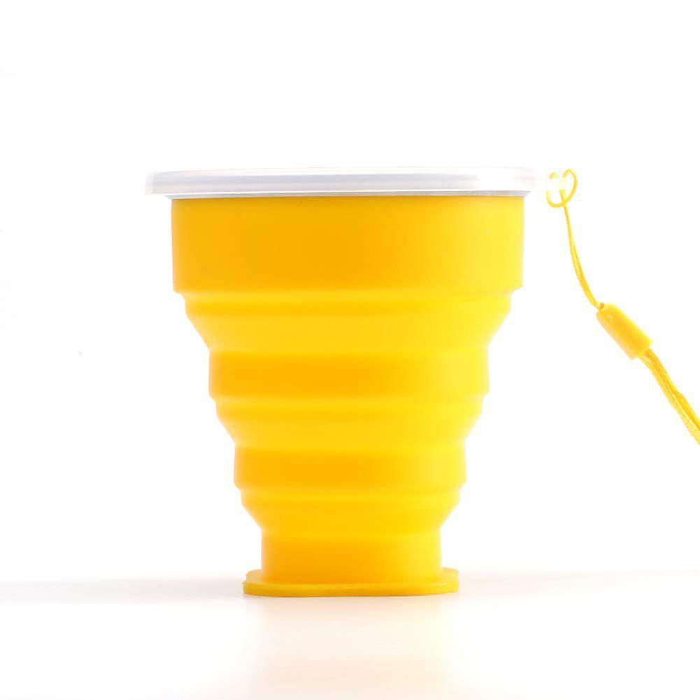 Copo Eco Retrátil Dobrável De Silicone Amarelo 200ml