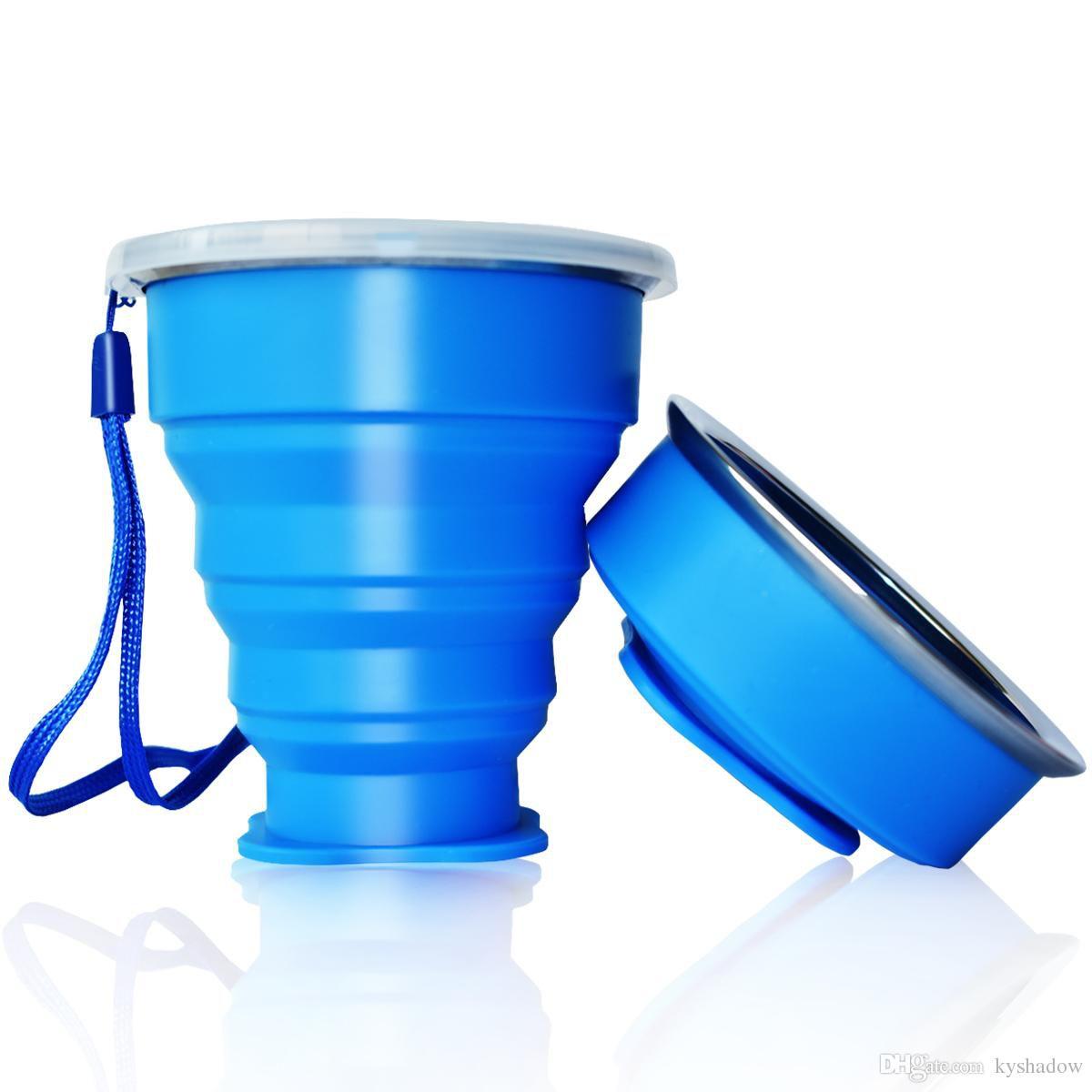 Copo Eco Retrátil Dobrável De Silicone Azul 200ml