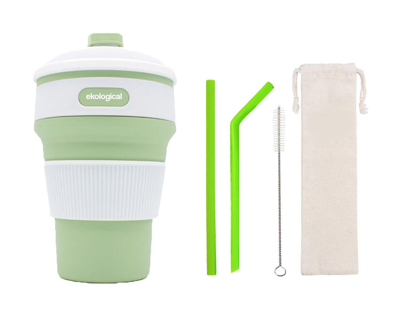 Copo de 350ml e Kit de Canudos de Silicone Verde | Eko Kit 6