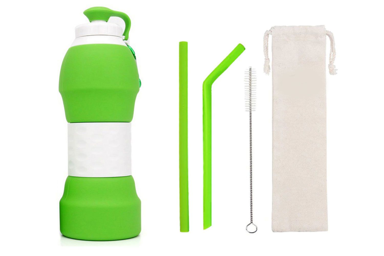 Garrafa de silicone e kit de canudos verdes de silicone | Eko kit 8