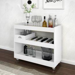 Aparador Bar com Espelho e Bandeja Móvel 4030 Branco - JB Bechara