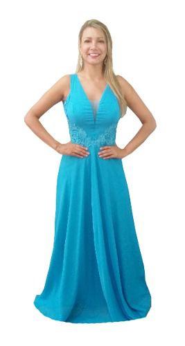 Vestido longo azul para madrinha de casamento