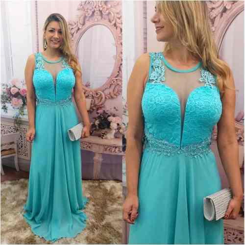 Vestido de madrinha de casamento longo azul tiffany