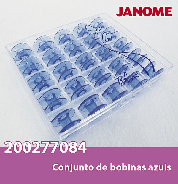 Bobinas JANOME 25 bobinas na cor Azul