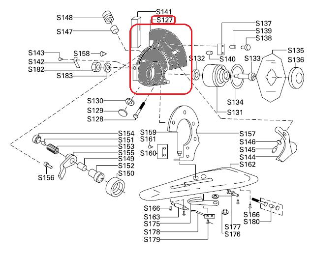 Caixa do Disco e engrenagens S-127 para máquina de cortar tecidos