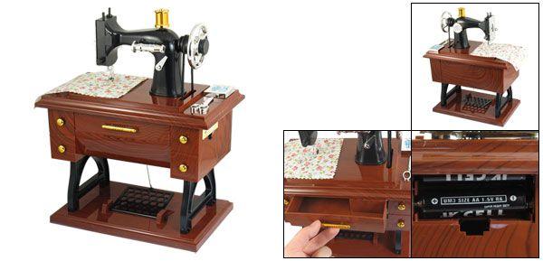 Caixinha de musica em formato de Máquina de Costura