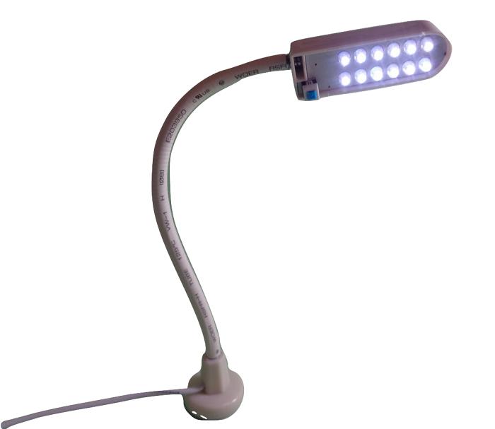Luminária com 12 Leds, haste flexível emborrachada e imã para fixar