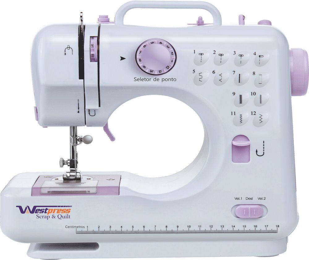 Máquina de Costura Portátil, Bivolt com 12 Pontos - Reta e Zig Zag WESTPRESS