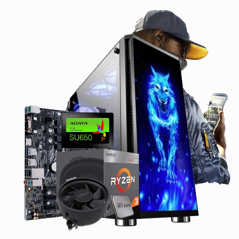 PC GAMER RYZEN R3 3200G + RAM 8GB + SSD 240GB + Processamento de video Radeon Vega 8
