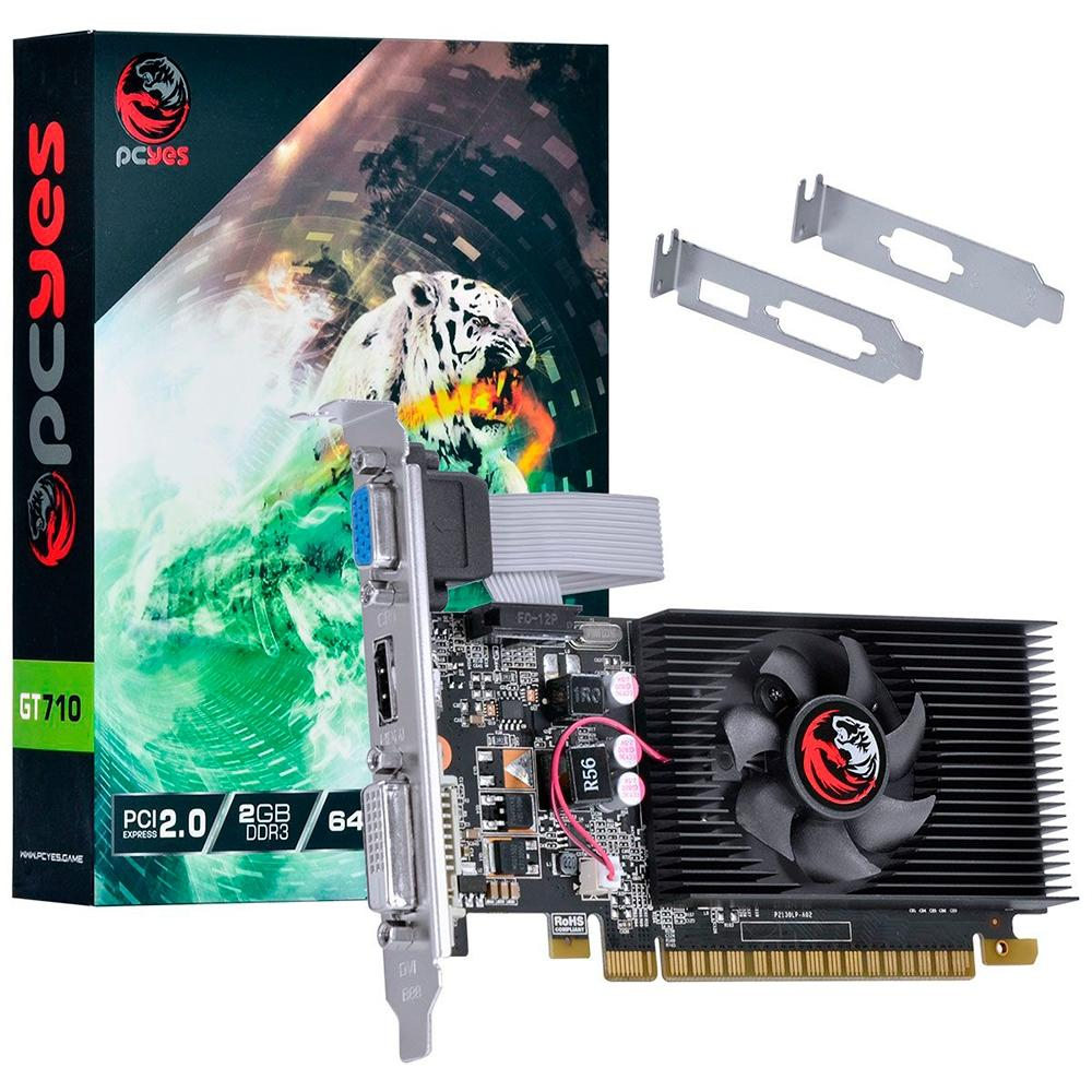 PLACA DE VIDEO PCYES NVIDIA GEFORCE GT 710 2GB DDR3 64 BITS COM KIT LOW PROFILE INCLUSO - PA710GT6402D3LP