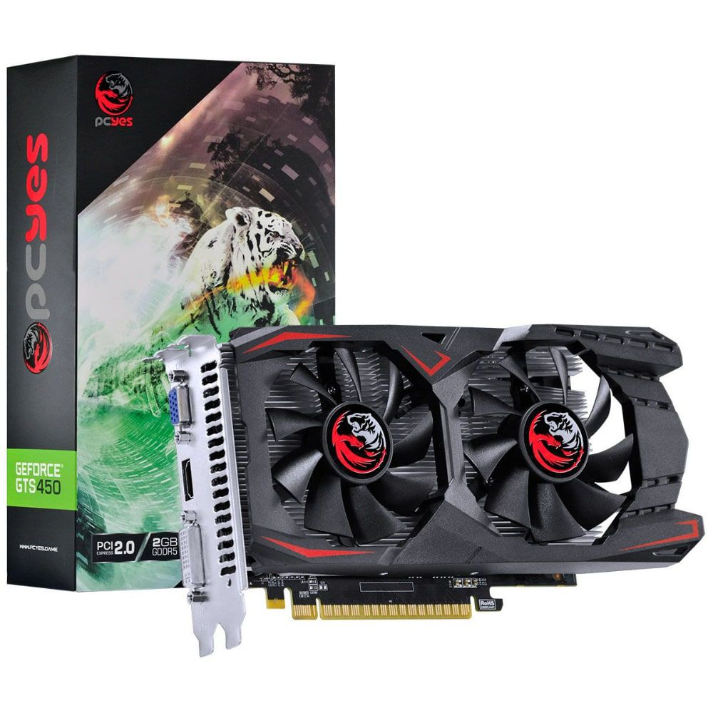 PLACA DE VIDEO PCYES NVIDIA GEFORCE GTS 450 2GB GDDR5 128 BITS DUAL-FAN - PA45012802G5