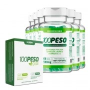 100PESO - Tratamento para 180 dias - 6 Frascos com 60 caps cada + 1 Caixa de Chá 100peso com 60 sachês