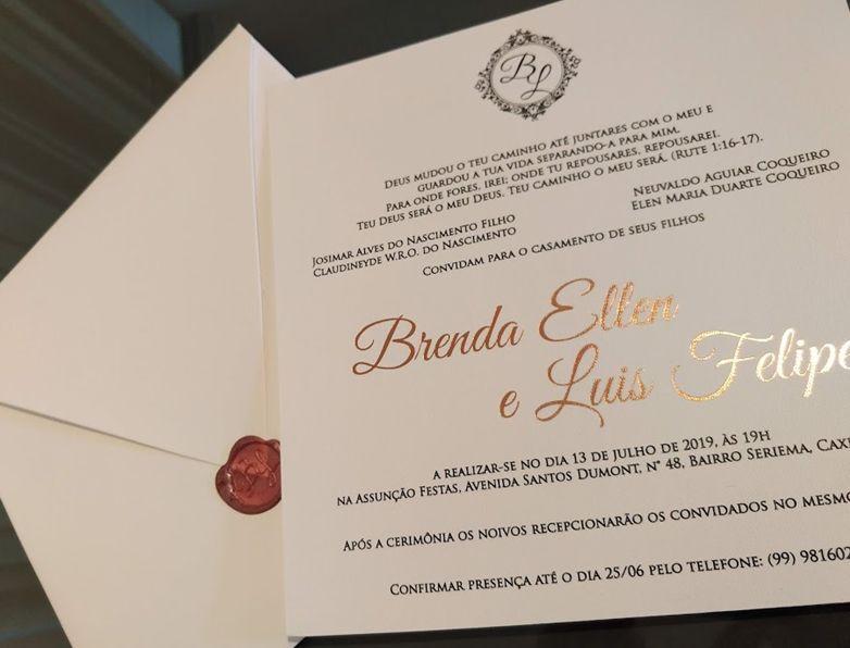 Convite Brenda Ellen e Luis Felipe