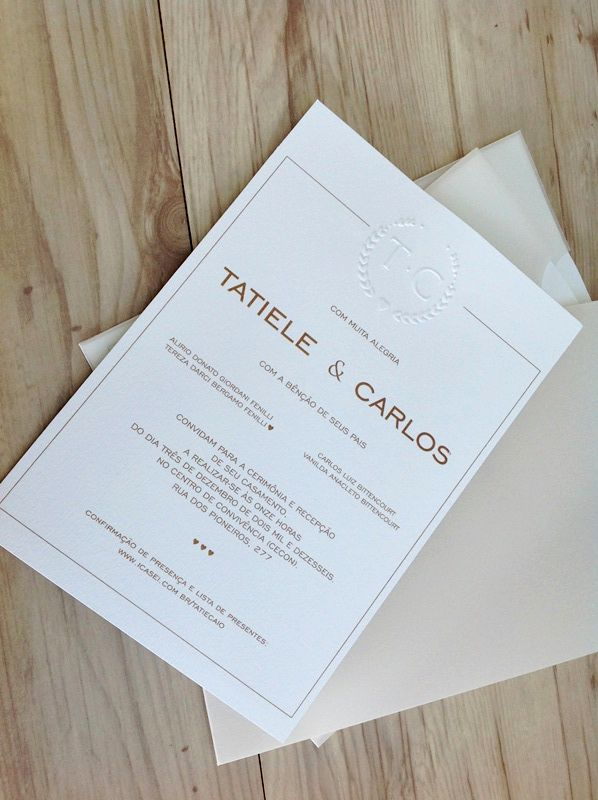 Convite Tatiele e Carlos