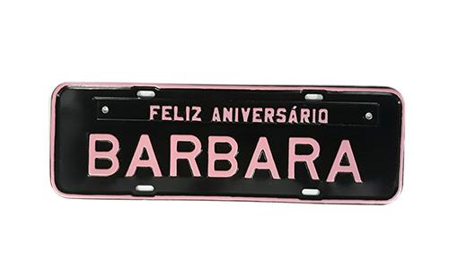 Placa para Aniversário Preto / Rosa