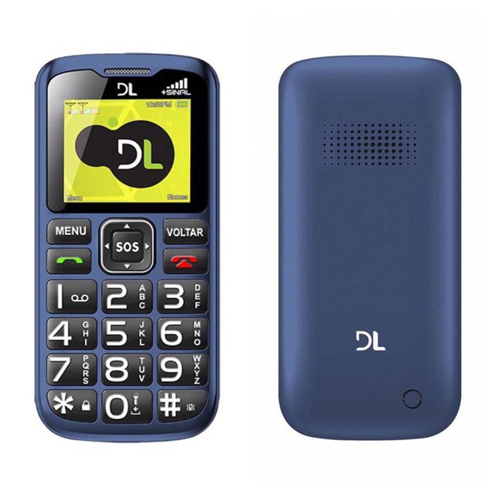 Celular DL YC120 gsm dual chip azul entrada antena rural sos