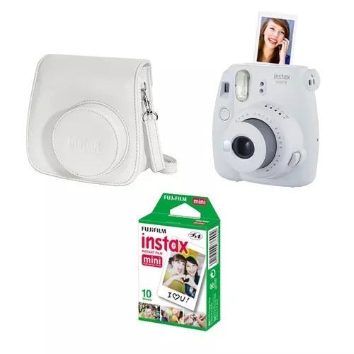 Kit Câmera Fujifilm Instax Mini 9 Branca + Bolsa + Filme 10 poses