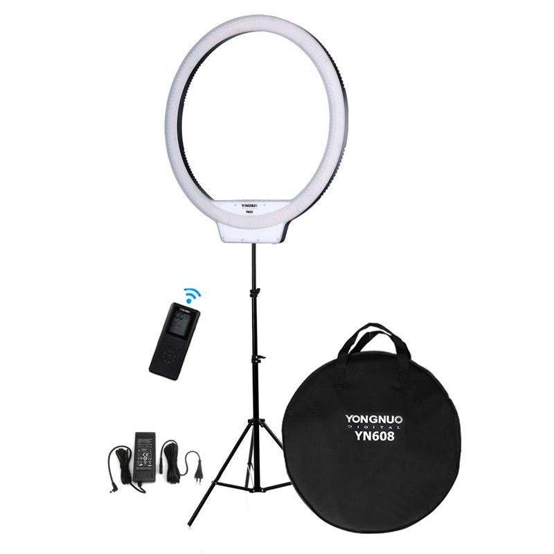 LED Ring Light Yn608 Yongnuo + Fonte + Tripe