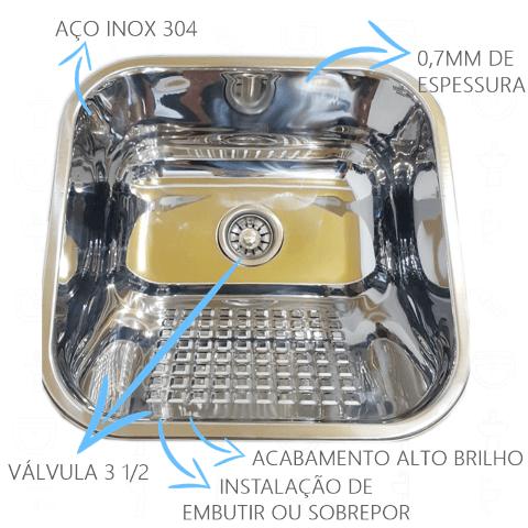 Tanque Inox 40x40x22cm - 22 Litros Esfregador Square