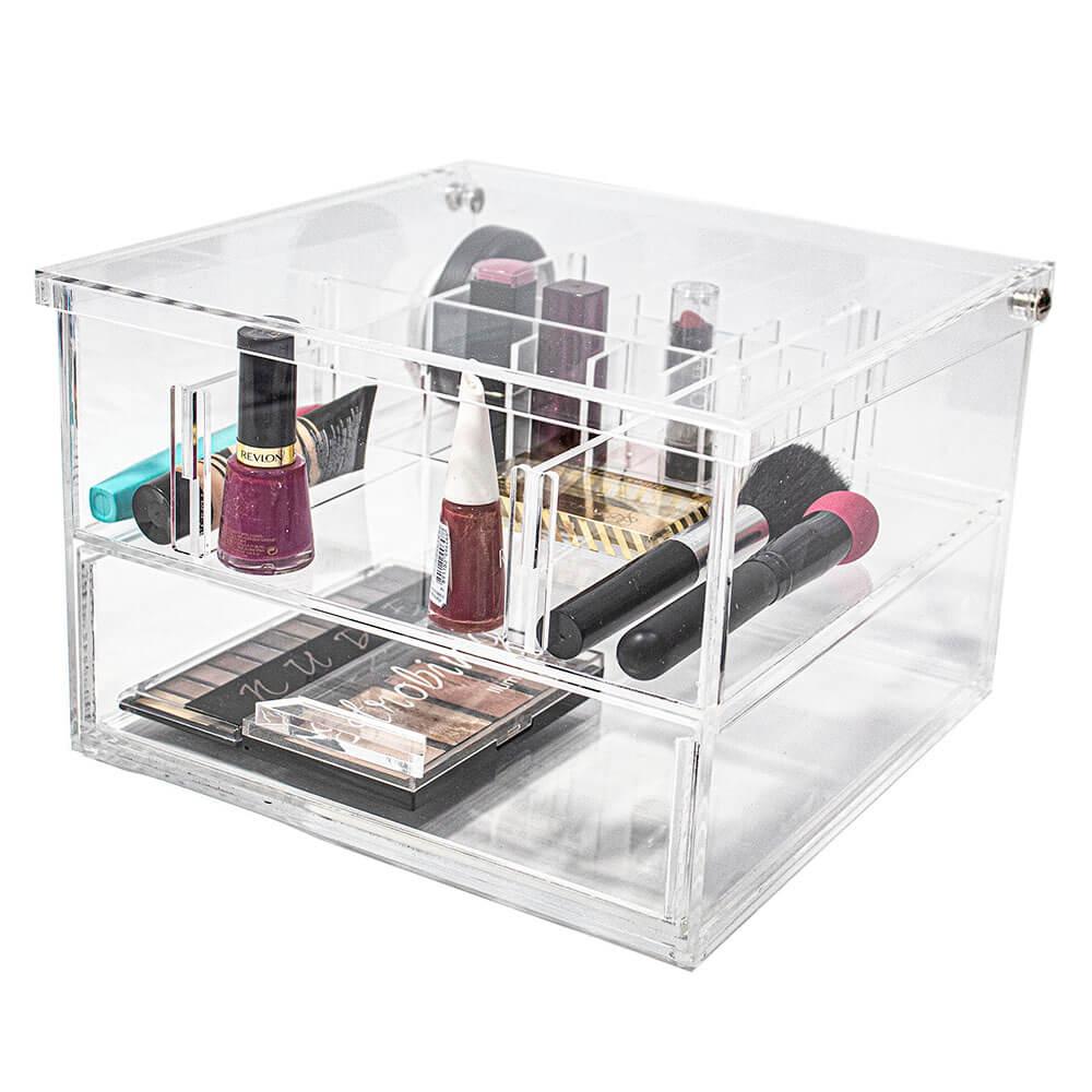 Caixa Organizadora de Maquiagem em acrílico com gaveta Make Quadrada