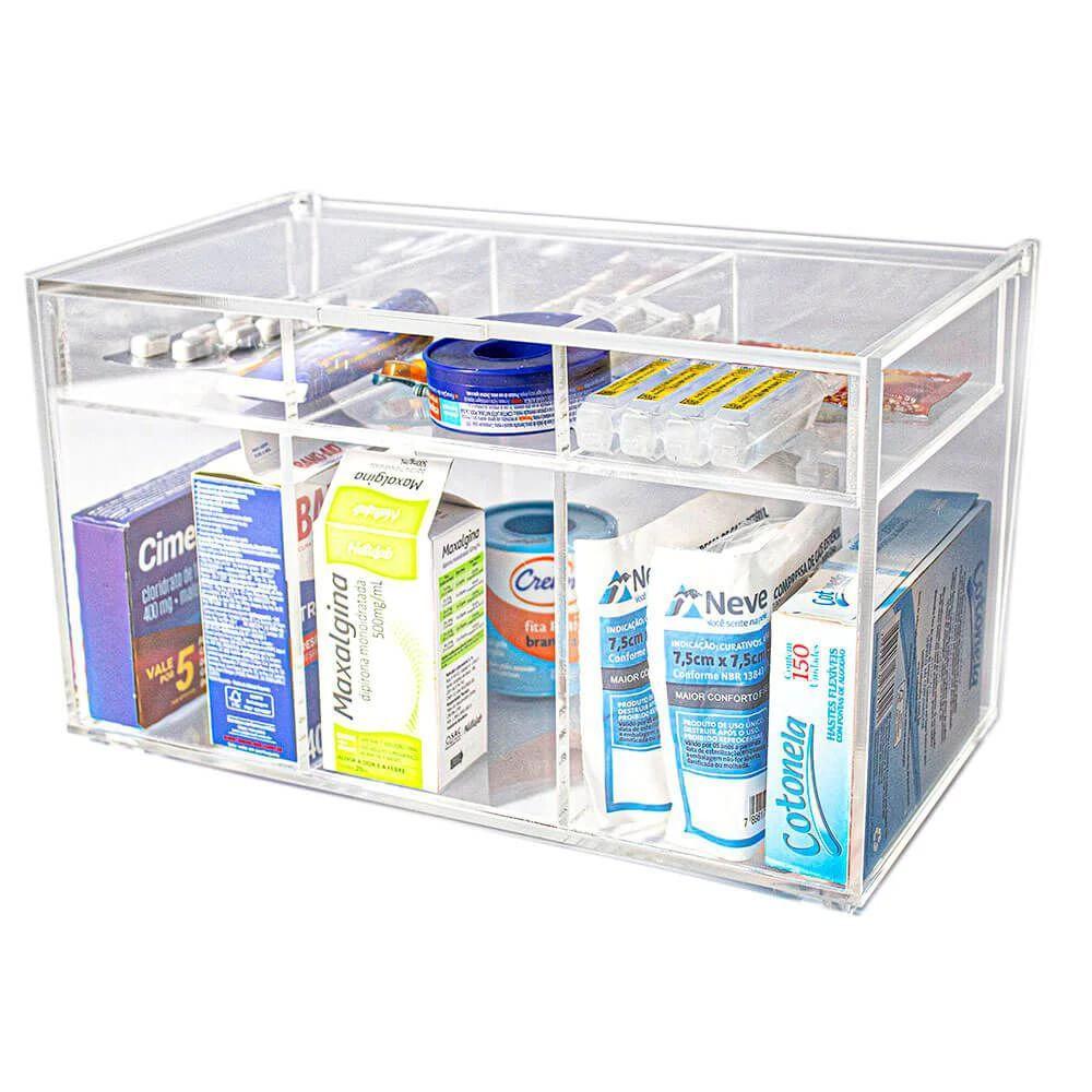 Caixa Acrílico Organizadora de Remédios e Medicamentos com tampa articulada