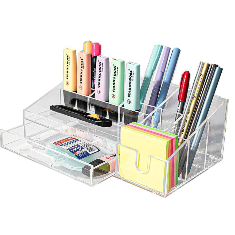 Organizador Acrílico Office com gaveta